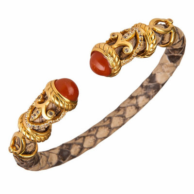 Python Rope Scroll Bangle Bracelet - 18K Gold Plated - Pepper Python Leather