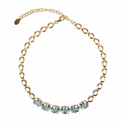 Cristina Sabatini: Halo Necklace 18K Gold - Blue Topaz