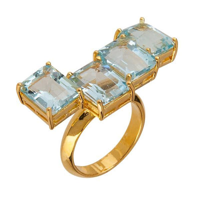 Women's Rings - Jewelry Cassio Ring - 18k Gold Plated - Blue Topaz