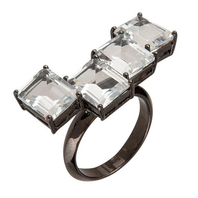 Women's Rings - Jewelry Cassio Ring - Black Rhodium - White Topaz