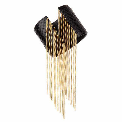 Fringe Cuff Bracelet - 18K Gold Plated -  Black Python Leather