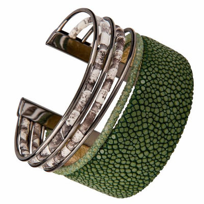 Cobra Cuff Bracelet - Silver - Green Leather