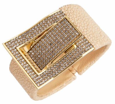 Cristina Sabatini Leather Jewelry - Natural Stingray CZ Buckle Bangle