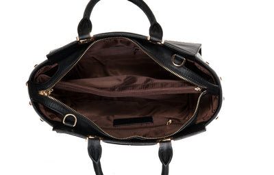 Interior of a Black Alexandra Leather Tote Handbag by Cristina Sabatini