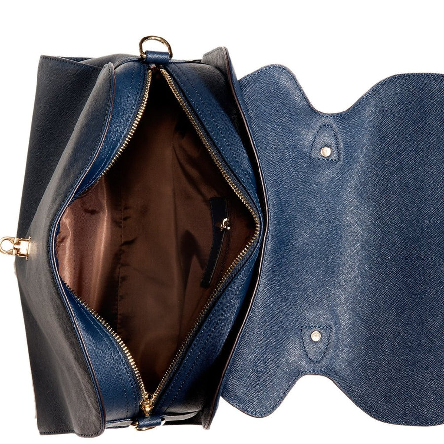 Accessories - Women's Handbags - Angelina Satchel in Navy - Saffiano Leather Handbag by Cristina Sabatini Full Bag View
