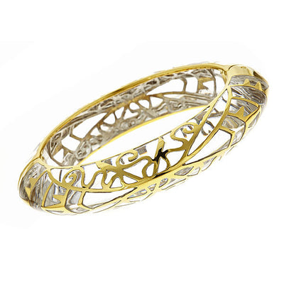 MP Edge Bangle Bracelet - 18K Gold Plated - Clear Color