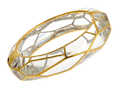 MP Wall Bangle Bracelet - 18K Gold Plated - Clear Color