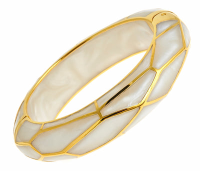 MP Wall Bangle Bracelet - 18K Gold Plated - Mother of Pearl