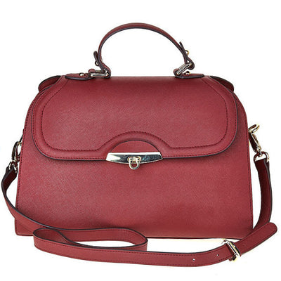 Accessories - Women's Handbags - Angelina Satchel in Cranberry - Saffiano Leather Handbag by Cristina Sabatini Full Product View With Straps