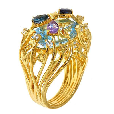 Jewelry Women's Rings - Blue Topaz Iris Blossom Ring in 18K Gold Plated by Cristina Sabatini