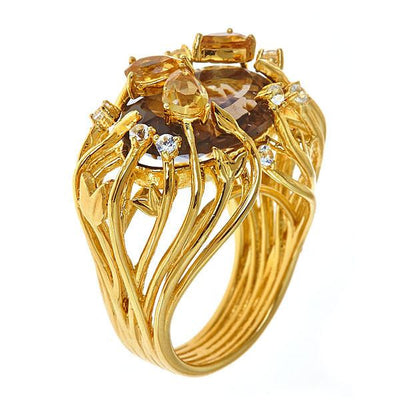 Jewelry Women's Rings - Smokey Topaz Iris Blossom Ring in 18K Gold Plated by Cristina Sabatini