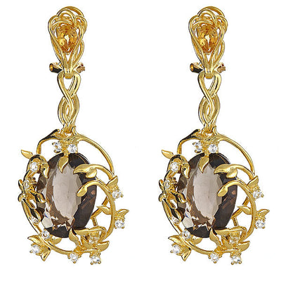 Iris Blossom Earrings - Smoky Topaz