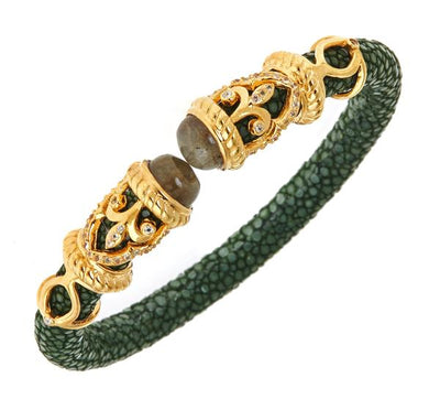 Rope Scroll Bangle Bracelet - 18K Gold Plated - Green Stingray Leather