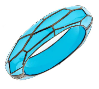 MP Wall Bangle Bracelet - Black Rhodium Silver - Turquoise Color