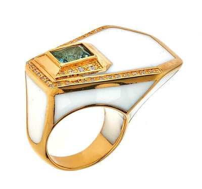 Women's Ring - Jewelry -18K Gold Plated White Giza Ring by Cristina Sabatini
