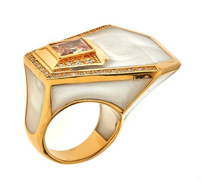 Women's Ring - Jewelry -18K Gold Plated Mother of Pearl Giza Ring by Cristina Sabatini