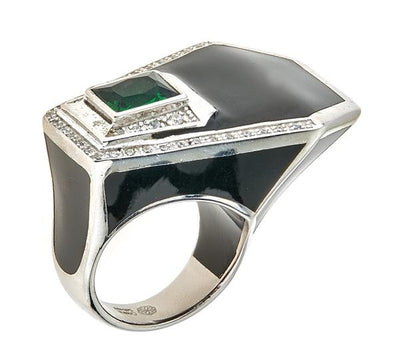 Women's Ring - Jewelry - Black Rhodium Black Giza Ring by Cristina Sabatini