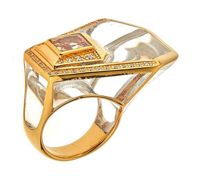 Women's Ring - Jewelry -18K Gold Plated Clear Giza Ring by Cristina Sabatini