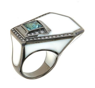 Women's Ring - Jewelry -Black Rhodium White Giza Ring by Cristina Sabatini