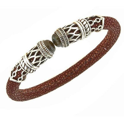Men's Rope Scroll Bangle Bracelet - Silver - Chocolate Stingray Leather