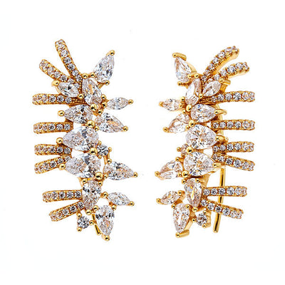 Cristina Sabatini: Pavo Earrings - White CZ