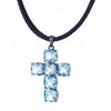 Cristina Sabatini: Cross Pendant Necklace - Blue Topaz