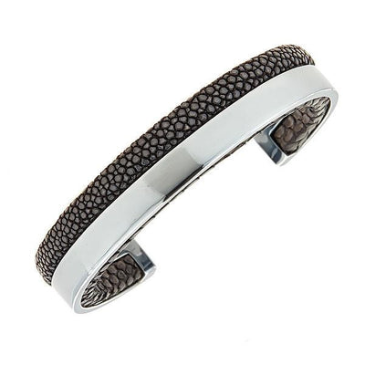 Modern Men Stingray Python Cuff Bracelet - Silver - Black Stingray Leather