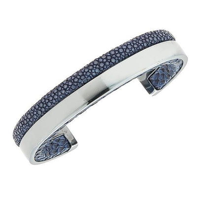 Modern Men Stingray Python Cuff Bracelet - Silver - Lapis Stingray Leather