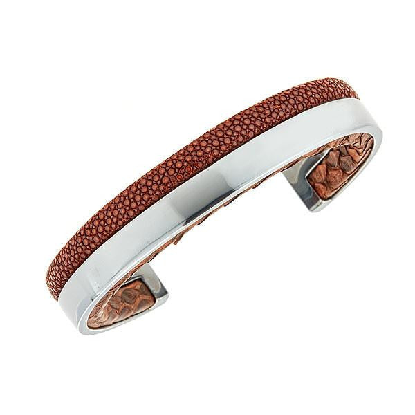 db4d50be7b4 Modern Men Stingray Python Cuff Bracelet - Silver - Chocolate Stingray  Leather