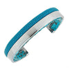 Modern Men Stingray Python Cuff Bracelet - Silver - Turquoise Stingray Leather