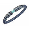 Men's Rope Scroll Bangle Bracelet - Silver - Lapis Stingray Leather