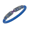 Men's Rope Scroll Bangle Bracelet - Silver - Sapphire Stingray Leather