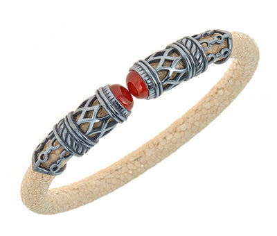 Men's Rope Scroll Bangle Bracelet - Silver - Natural Stingray Leather