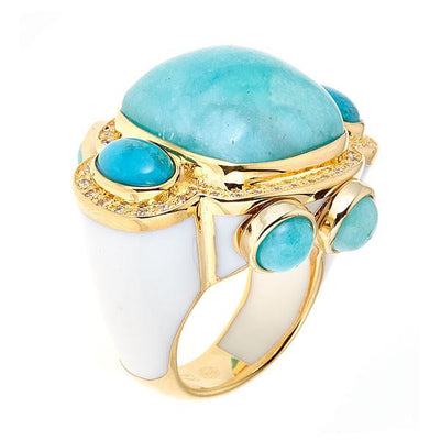 Jewelry -Women's Rings - 18K Gold Plated- Amazonite Sphinx Ring -  by Cristina Sabatini
