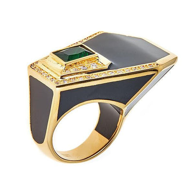 Women's Ring - Jewelry -18K Gold Plated Black Giza Ring by Cristina Sabatini