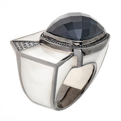 Ammom Ring - Rhodium Plated - Mother of Pearl