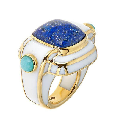 Jewelry - Women's Rings - 18K Gold Plated Lapis Nubia Ring by Cristina Sabatini
