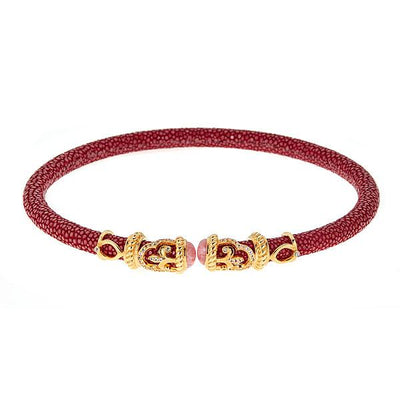Rope Scroll Leather Choker Necklace - 18K Gold Plated