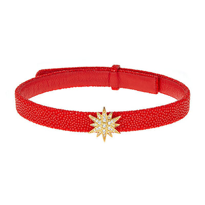 Celestial Choker Leather Necklace Coral Stingray