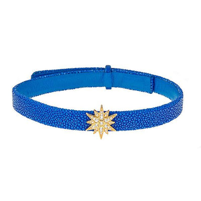 Celestial Choker Leather Necklace Sapphire Stingray