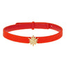 Celestial Choker Leather Necklace Tangerine Stingray