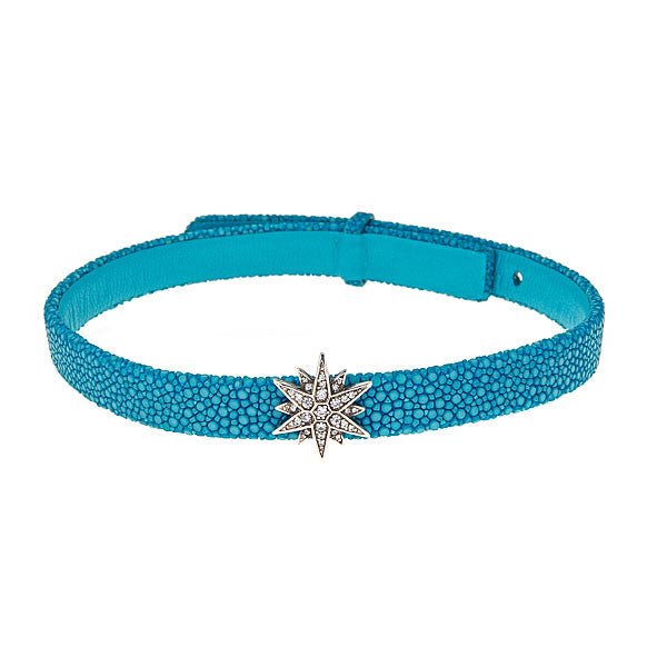 Celestial Choker Leather Necklace Turquoise Stingray