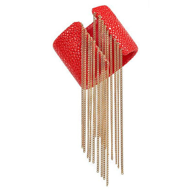 Fringe Cuff Bracelet - 18K Gold Plated - Coral Stingray Leather
