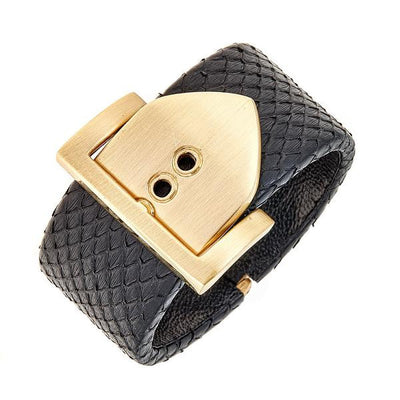 Square Buckle Bracelet - 18K Gold Plated - Black Python Leather
