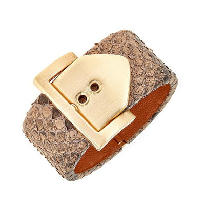 Square Buckle Bracelet - 18K Gold Plated - Pepper Python Leather