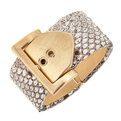 Square Buckle Bracelet - 18K Gold Plated - Natural Python Leather