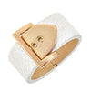 Square Buckle Bracelet - 18K Gold Plated - Snow Python Leather