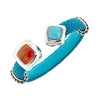 Two-Stone Gemstone Bangle Bracelet - Sterling Silver - Turquoise Stingray Leather