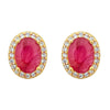 Aquila Stud Earrings - Ruby - 18K Gold Plated