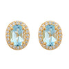 Aquila Stud Earrings - Blue Topaz - 18K Gold Plated